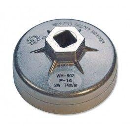 """Cazoleta para filtros de aceite aluminio 74 mm x P14  - Cabezal interior cuadrado 1/2"""". www.motortool.es"""