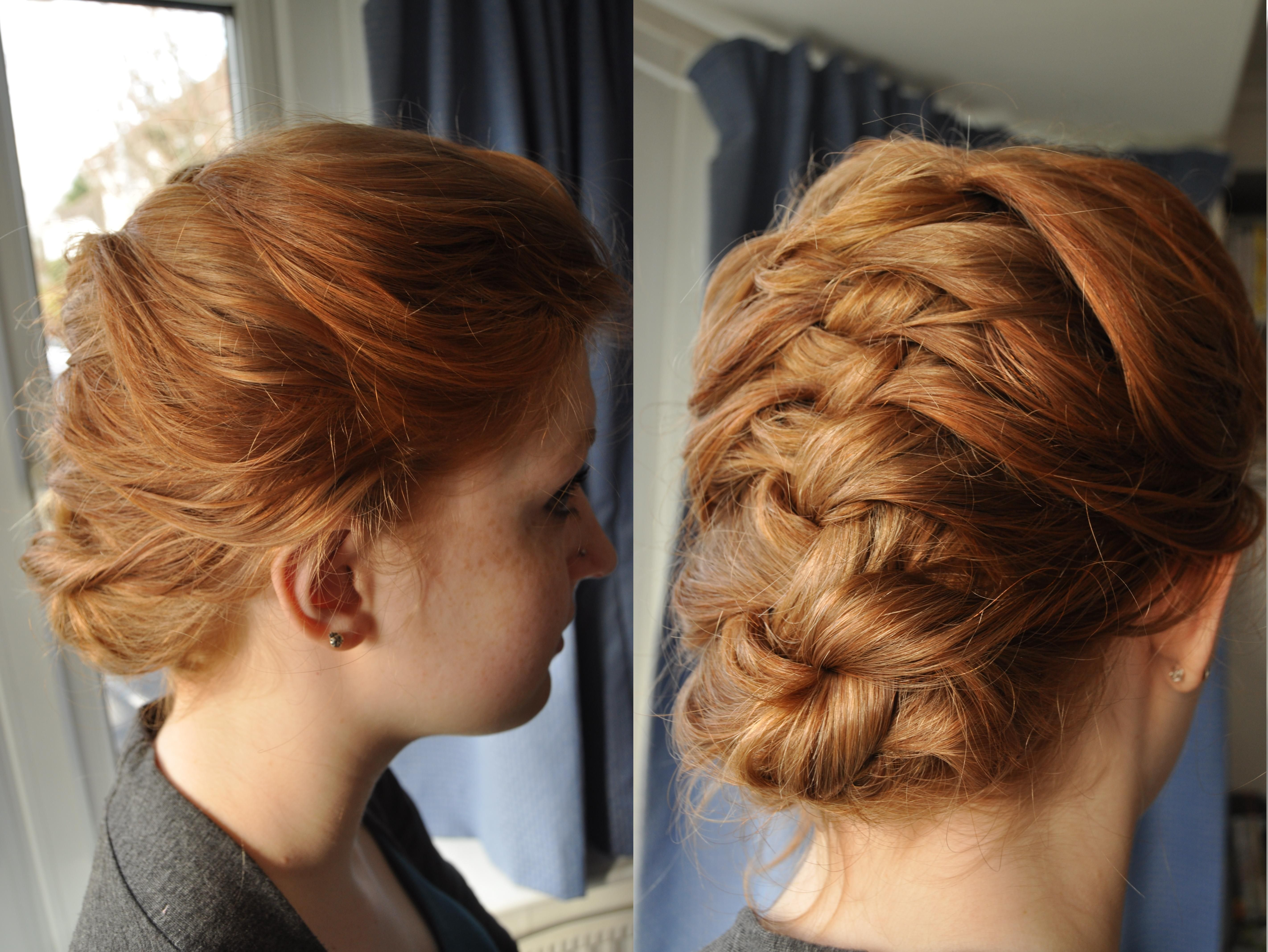 My First Try At A French Braid On My Sister S Hair Braided Updo For Short Hair Short Wedding Hair Braids For Short Hair
