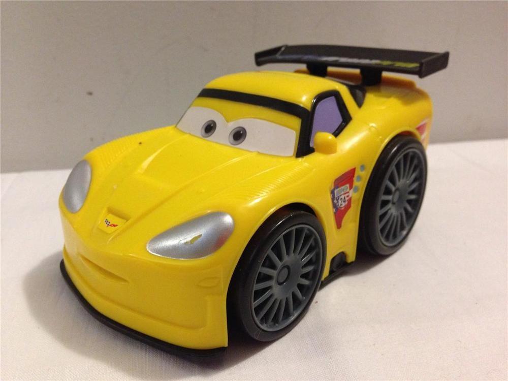 Disney Pixar Cars 2 Shake N Go Jeff Gorvette Yellow Race Car World
