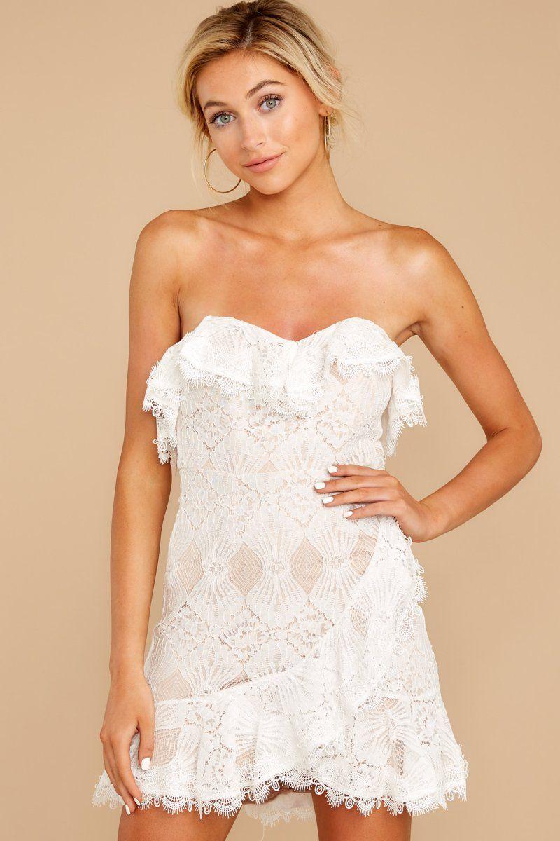 Flirty White Ruffled Dress Short Strapless Lace Dress Dress 52 Red Dress Strapless Lace Dress Lace Dress Lace White Dress [ 1200 x 800 Pixel ]