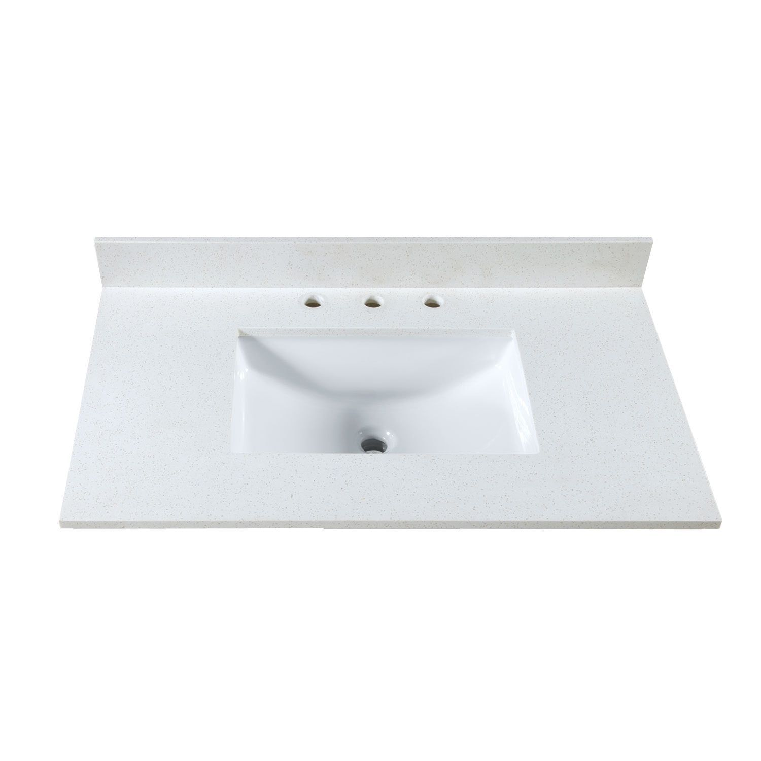 Maykke 37-inch Off-White (Beige) Quartz Countertop with 8-inch ...