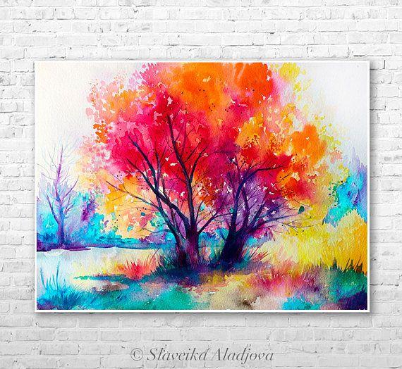 Colorido Arbol Paisaje Acuarela Pintura Impresion Por Slaveika Etsy Painting Nature Art Landscape Illustration