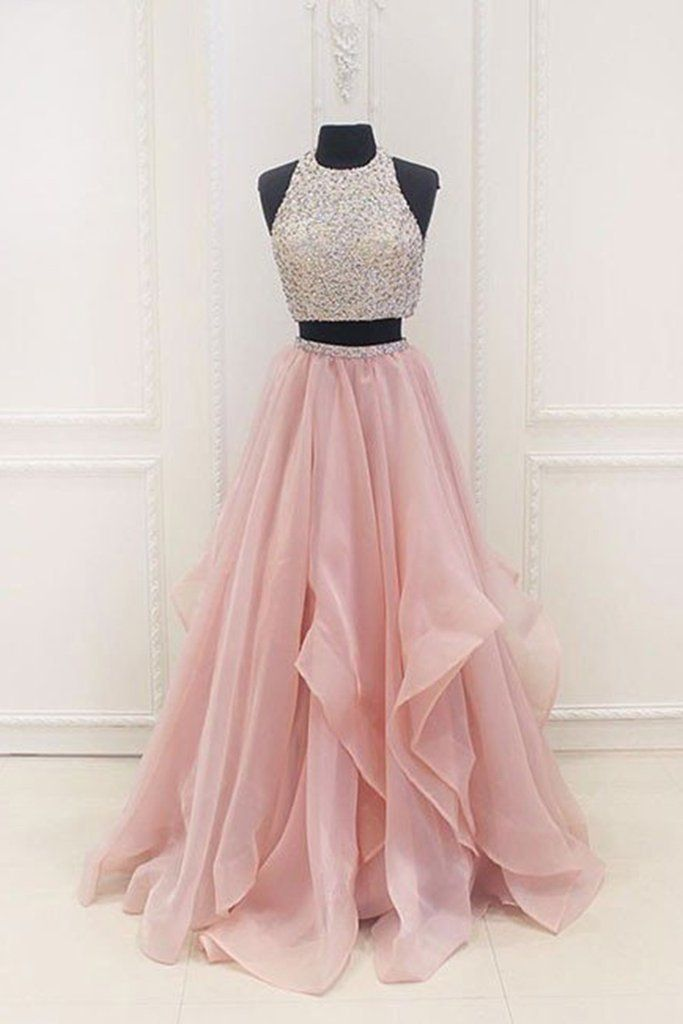 Pink chiffon tiered two pieces sequins A-line beaded long evening ...
