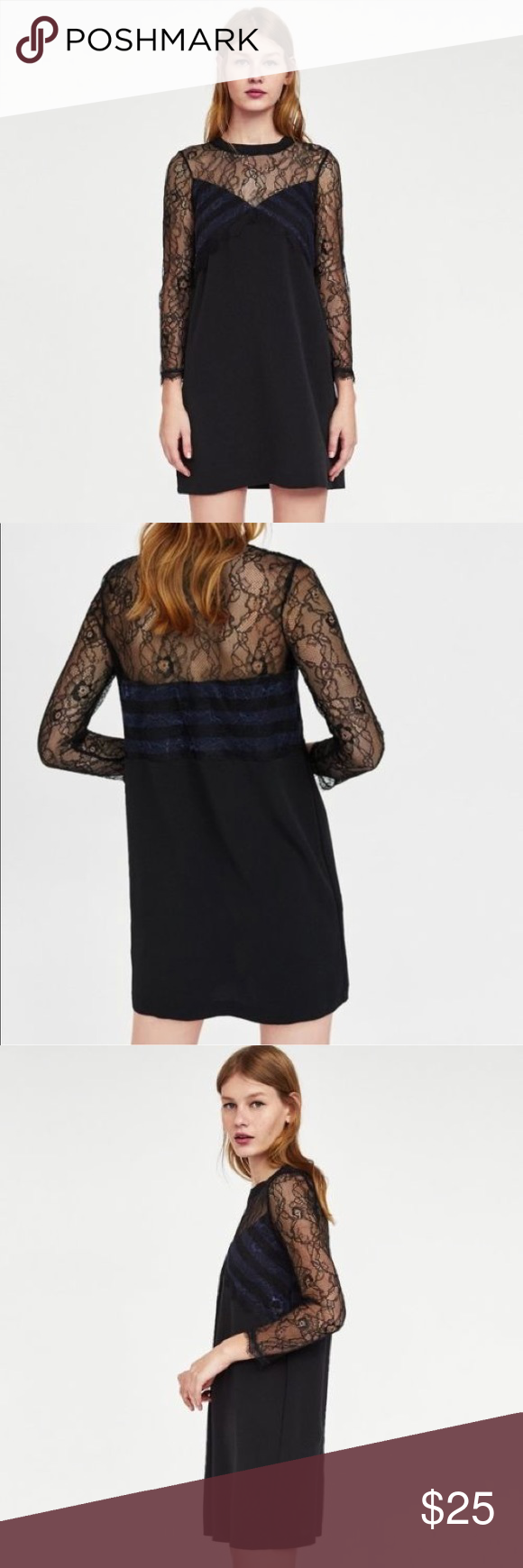 fcb0d8d530 Zara Black Navy Contrast Lace Dress Zara contrast lace sheer floral mini  dress. A-line dress with a ribbed round neckline and long sleeves.