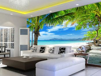 Cheap Wallpaper, Paper Wallpaper, Photo Wallpaper, Beach Landscape, Living  Room Tv, Wall Street, Sitting Rooms, Palm Trees, Kids Rooms