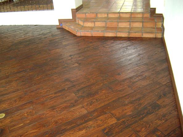 saltillo tile stairs to hardwood floor