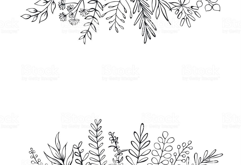 Black And White Floral Hand Drawn Farmhouse Style Outlined Twigs Wreath Drawing Flower Drawing Design Floral Wreath Drawing