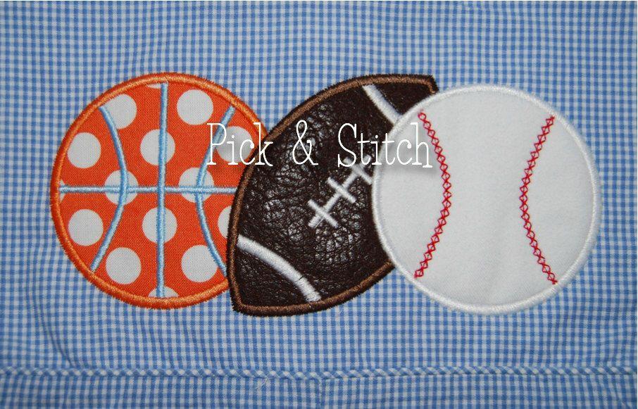 Sports ball trio applique design machine embroidery instant