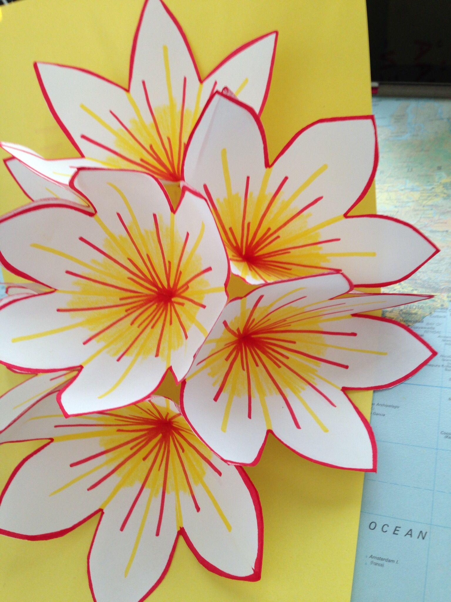 Äitienpäiväkortti - pop up kukkia