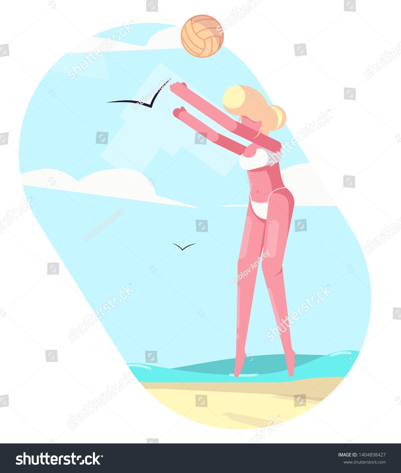 Volleyball Player With The Ball On The Beach Beach Sports In Summer Vector Flat Character Illustration For Animation Volleyball Players Players Beach Sports
