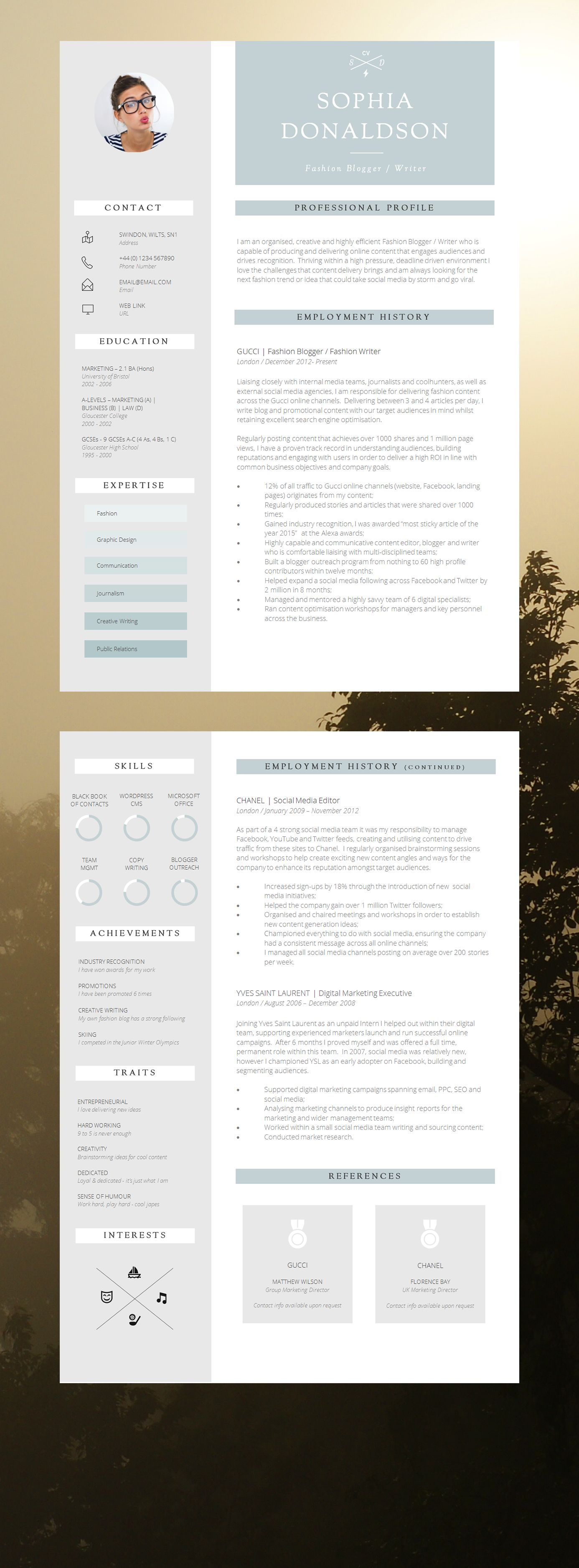 CV Template | Resume Template | CV Design + Cover Letter + CV Guide ...