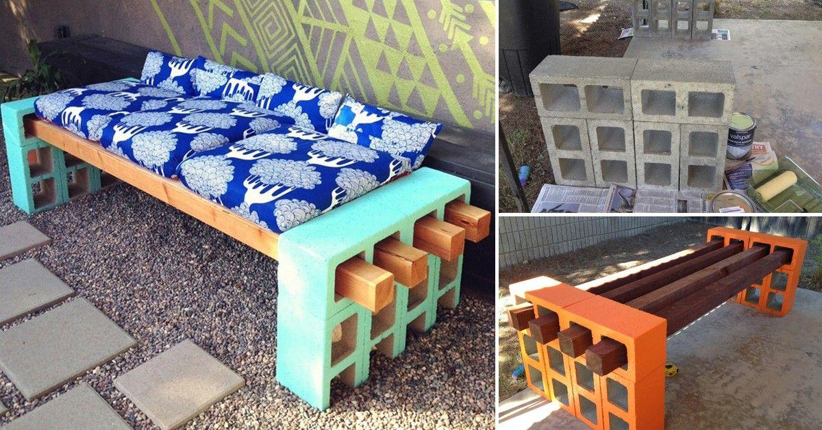 C mo hacer un banco con bloques de cemento y listones de - Como hacer bancos de madera ...