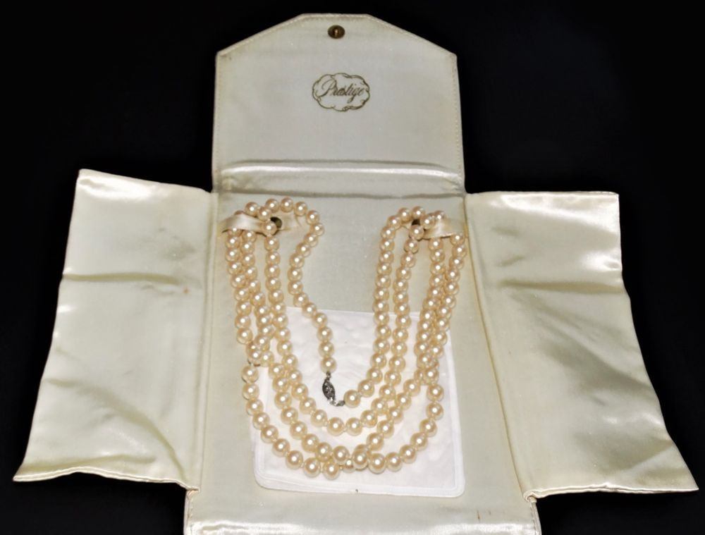 Vintage Prestige Coro Faux Pearls Necklace Orig Leather