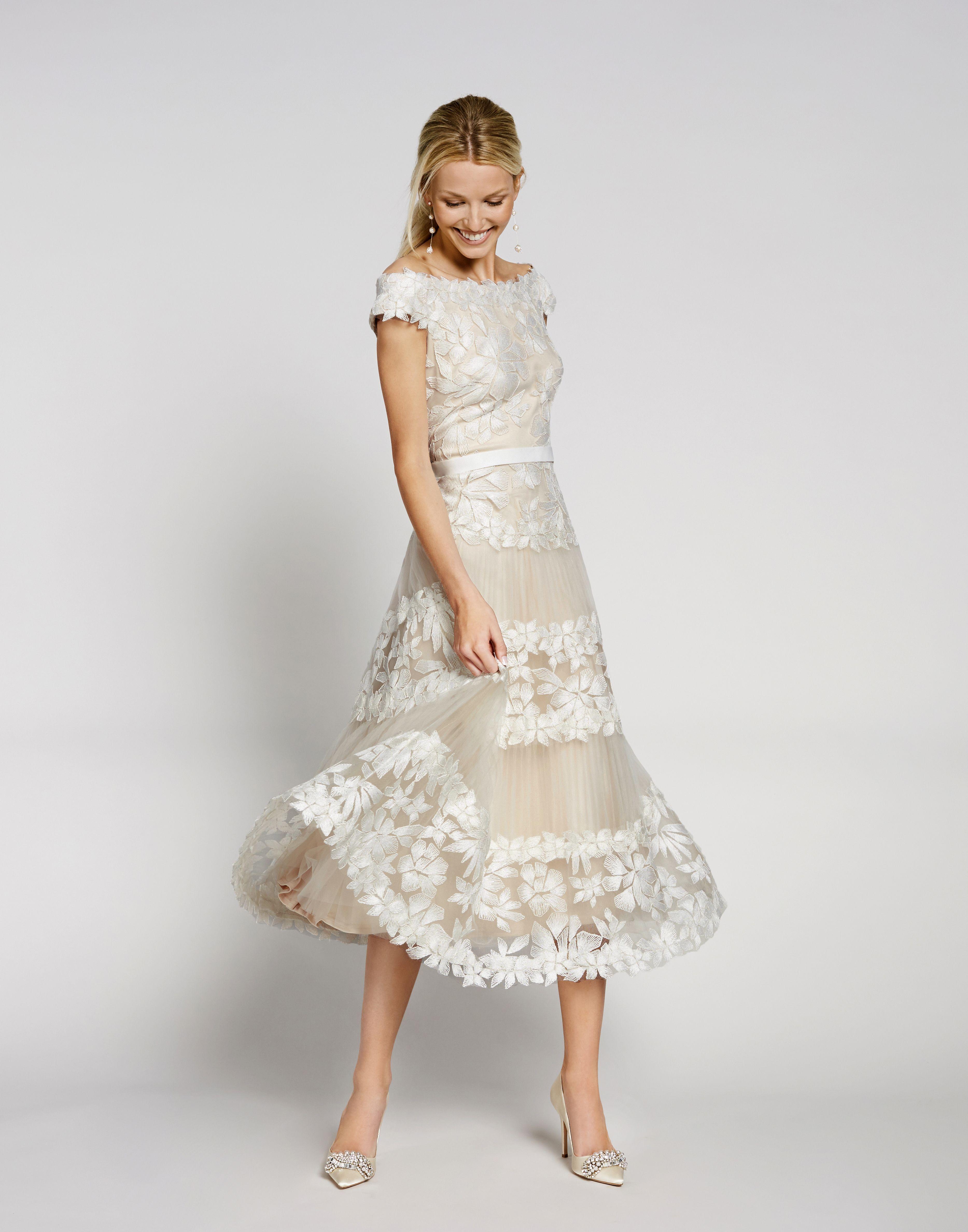 Tadashi Shoji Off The Shoulder Floral Embroidered Tulle A Line Midi Dress Dillard S Informal Short Wedding Dress Elegant Bridal Gown Short Wedding Gowns [ 4752 x 3734 Pixel ]
