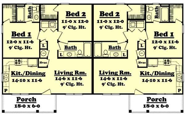 Multi Unit House Plan 142 1037 2 Bedrm 1800 Sq Ft Per Unit Home Duplex Floor Plans Ranch Style House Plans Duplex Plans