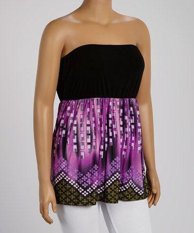 Another great find on #zulily! Purple & Black Geo Zigzag Empire-Waist Tube Top - Plus #zulilyfinds