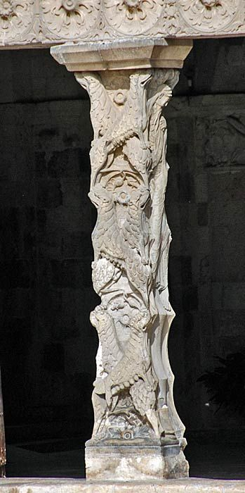 The Elaborate Romanesque Columns Of The Cloisters Of The