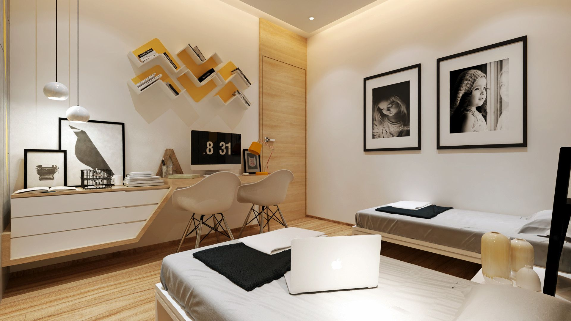 Modern style interior of bed room with