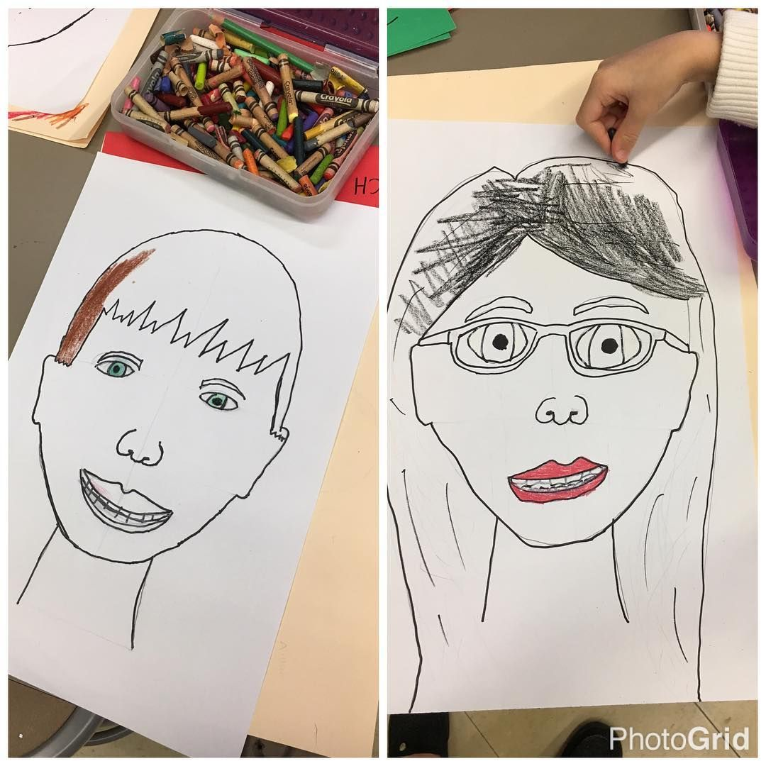 1st Grade Self Portrait Watercolor Wax Resist Based On A