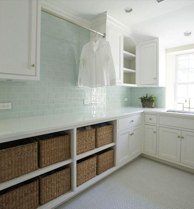 Laundry Room Backsplash icelandic blue glass tile 3 x 6 clear with soho white penny rounds