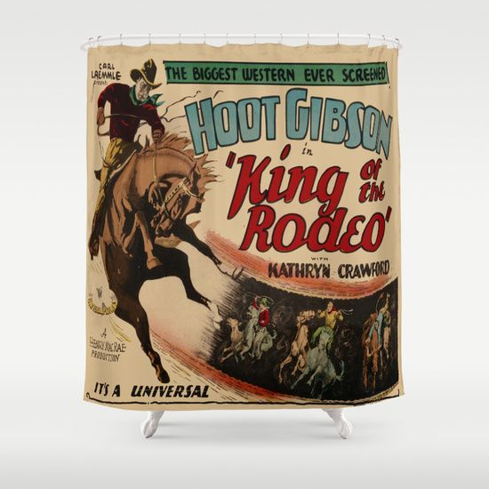 Vintage Western Movie Poster Rodeo King Shower Curtain By Dancing Cowgirl Design