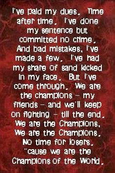 Queen song lyrics we are the champions