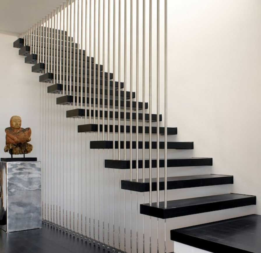 Stunning Staircase Rail With A Modern Design With Stainless Steel Railings And Floating Steps Home Interior
