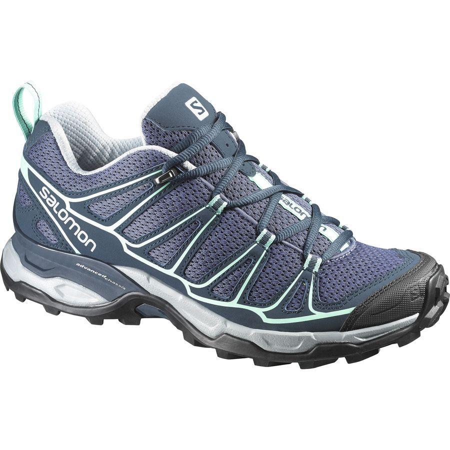 Salomon X Ultra Prime Hiking Shoe Women S Artist Grey X Deep Blue Lucite Green Hiking Shoes Women Boots Hiking Women