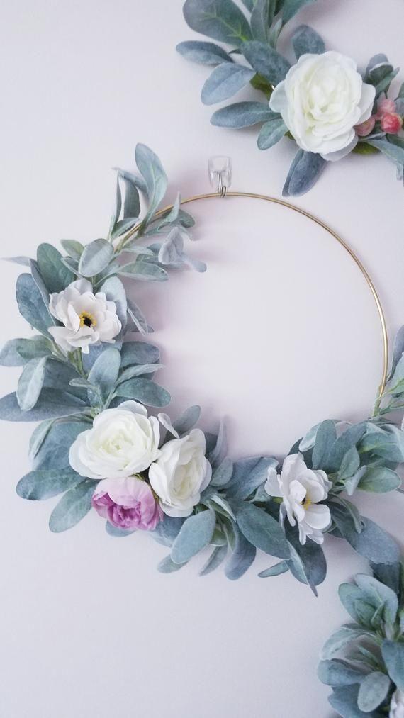 Photo of Nursery Hoop Wreath Set, Floral Wreaths, Modern Wreath Set, Photography Props