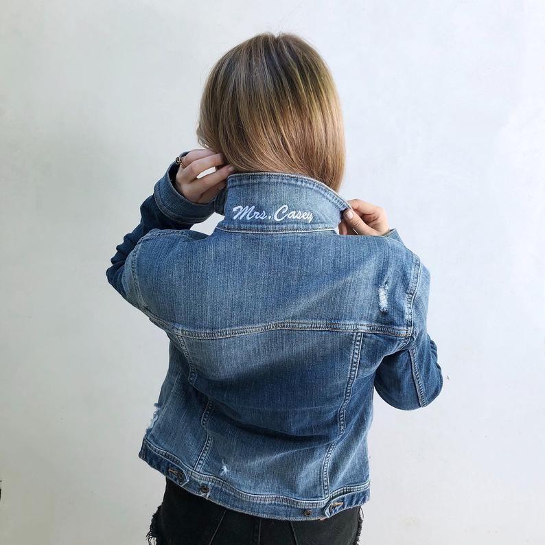 Mrs Popped Collar Custom Embroidered Denim Jacket Bride Jean Etsy In 2020 Bridal Jacket Wedding Jacket Jackets