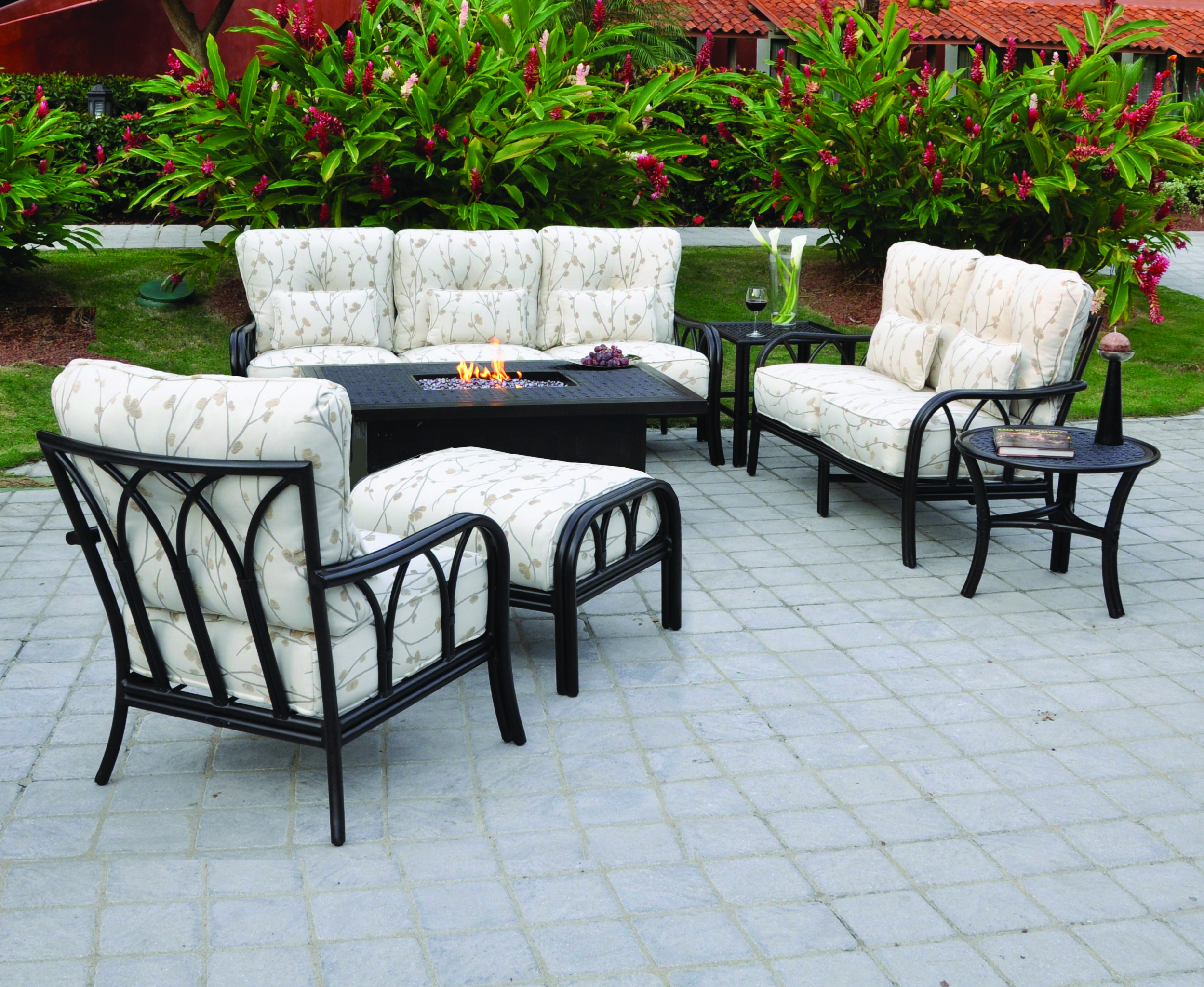 Pride Family Brands Cannes Outdoor Sofa And Castelle Firepit