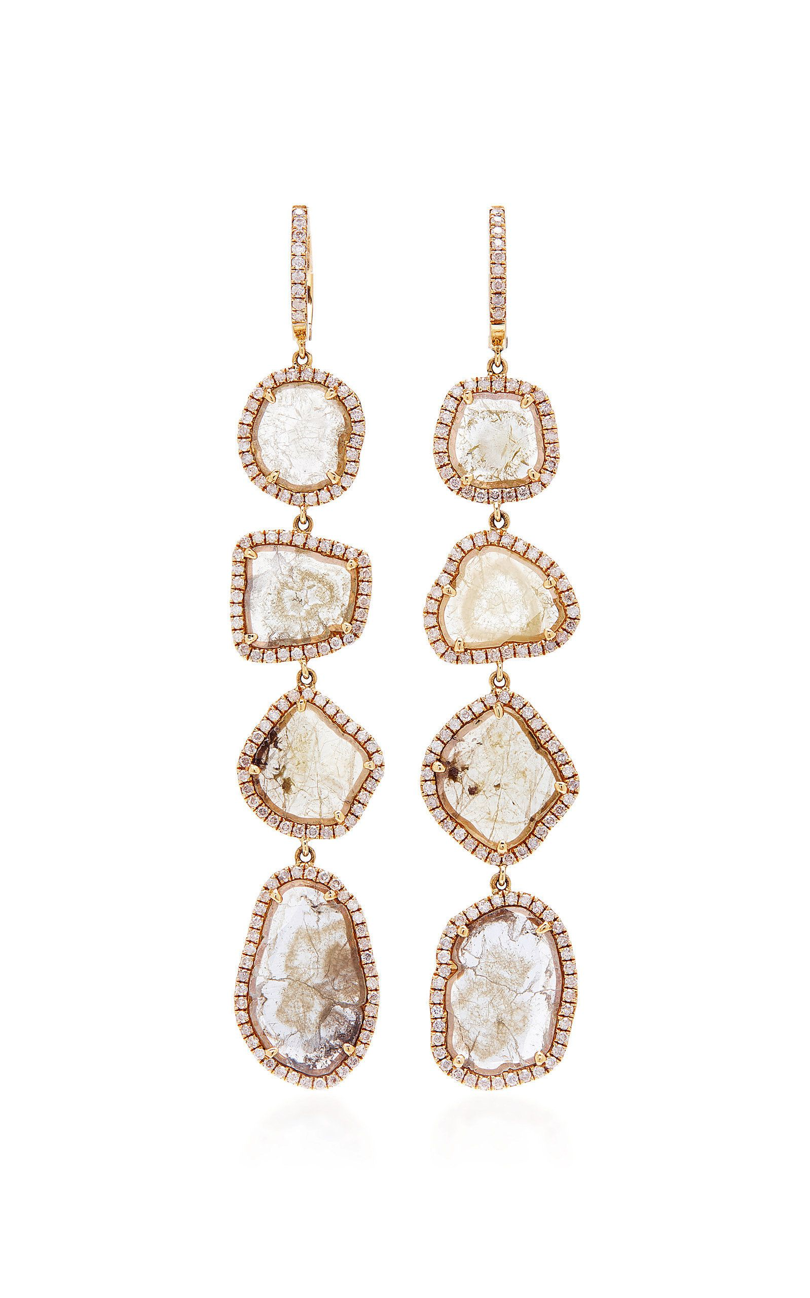 M O Exclusive e A Kind Four Drop Slice Diamond Earrings by