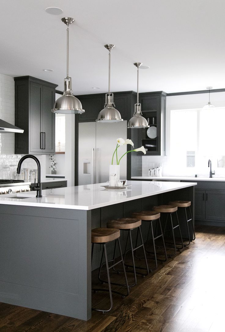 black, white, grey, wood kitchen with oversized kitchen island ...