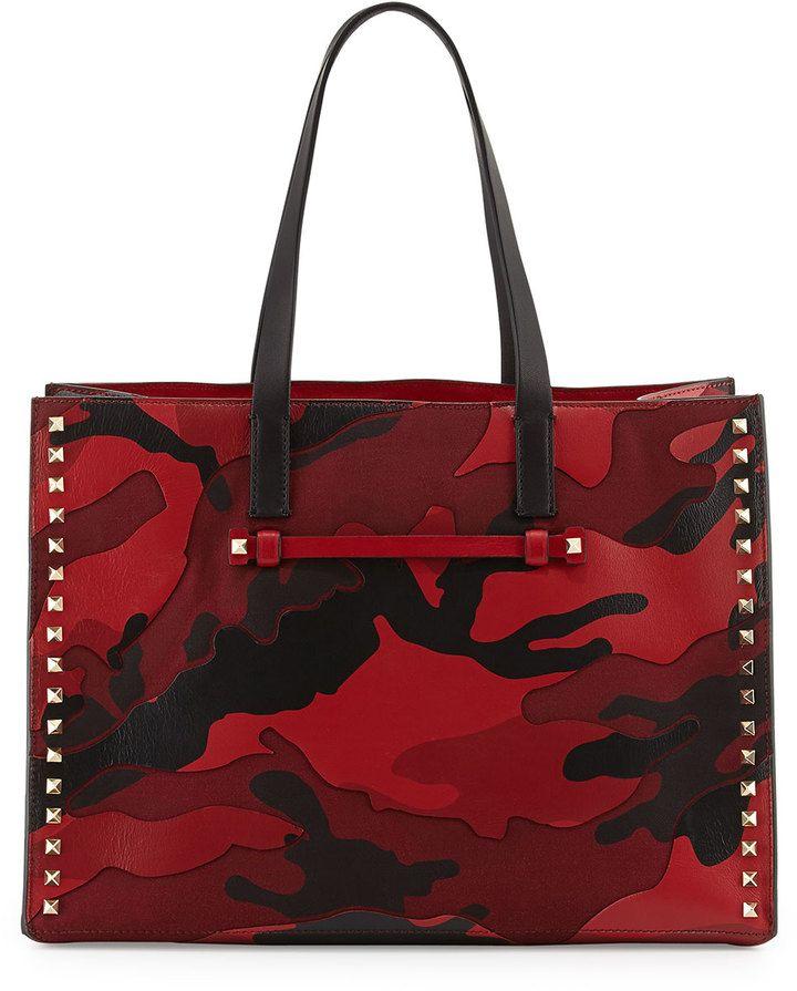 de802d2fe9f Valentino Rockstud Camo Canvas-Leather Medium Soft Tote Bag, Red on  shopstyle.com