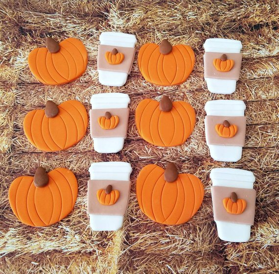 Pumpkin Spice Latte Fondant Cupcake Cookie Toppers In 2019