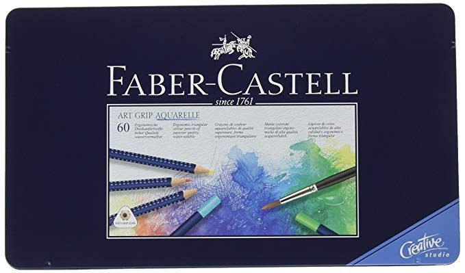 Faber Castell Art Grip Aquarelle Watercolor Pencils Set Tin Of 60