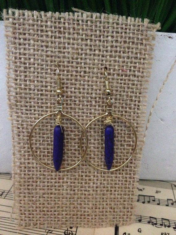 Blue howlite spike gold hoop wire wrapped by AdornbyPriscilla, $16.00