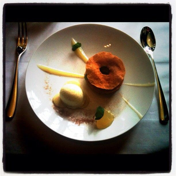 My favourite dessert ever - Apple curd with Fried Bric Pastry, Apple Sorbet and Apple Jelly