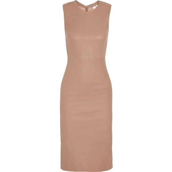 Iris & Ink Woman Carrie Stretch-leather Dress Taupe Size 14 IRIS & INK Amazing Price Sale Online Official Online Buy Cheap Supply g8akZeMy