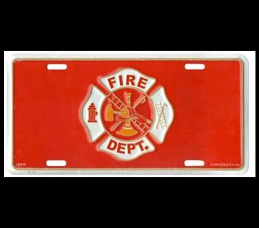 Fire Dept Maltese Cross On Red License Plate Firefighter Gifts Maltese Cross Firefighter