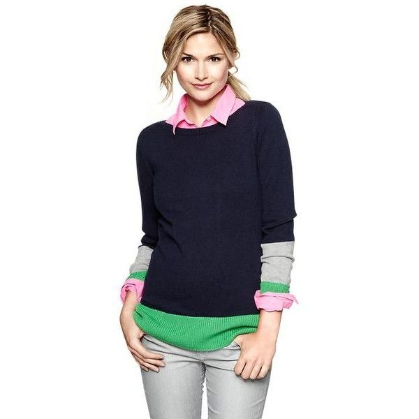 Gap Colorblock Boatneck Sweater ($30) found on Polyvore
