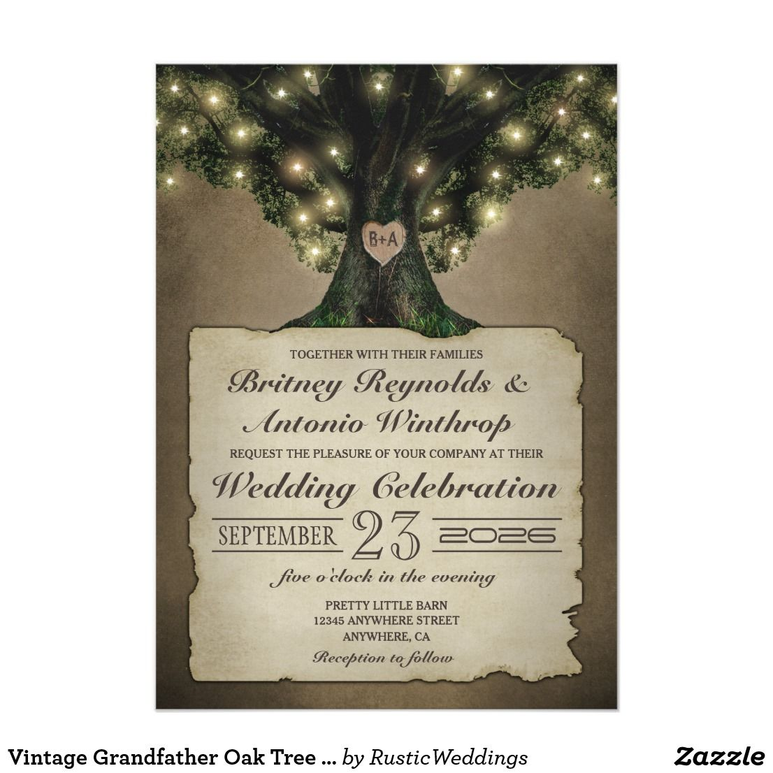 Vintage Grandfather Oak Tree Wedding Invitations | Pinterest ...