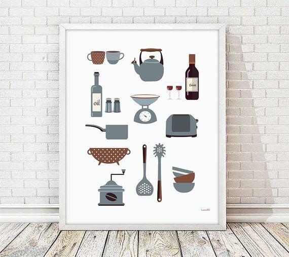 kitchen print, modern kitchen art, kitchen wall art print, modern kitchen,  kitchen utensils, breakfast print, Retro Kitchen art
