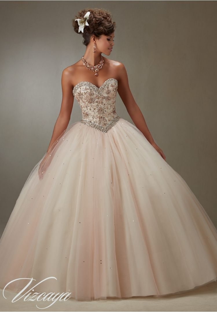 Quinceanera dress layered tulle ball gown with embroidery and