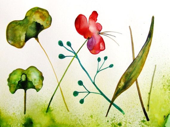 Flowers Original Watercolor Painting Landscape Drawing Contemporary Art Botanical Leaves Nature Wall Garden Plants