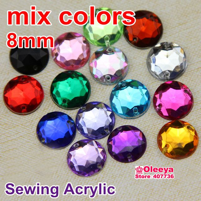 100pcs Mixed Colors Acrylic Sew On Rhinestones Flatback Sewing Beads Loose  Stone For Women Dress Y3493 1966b661bb11