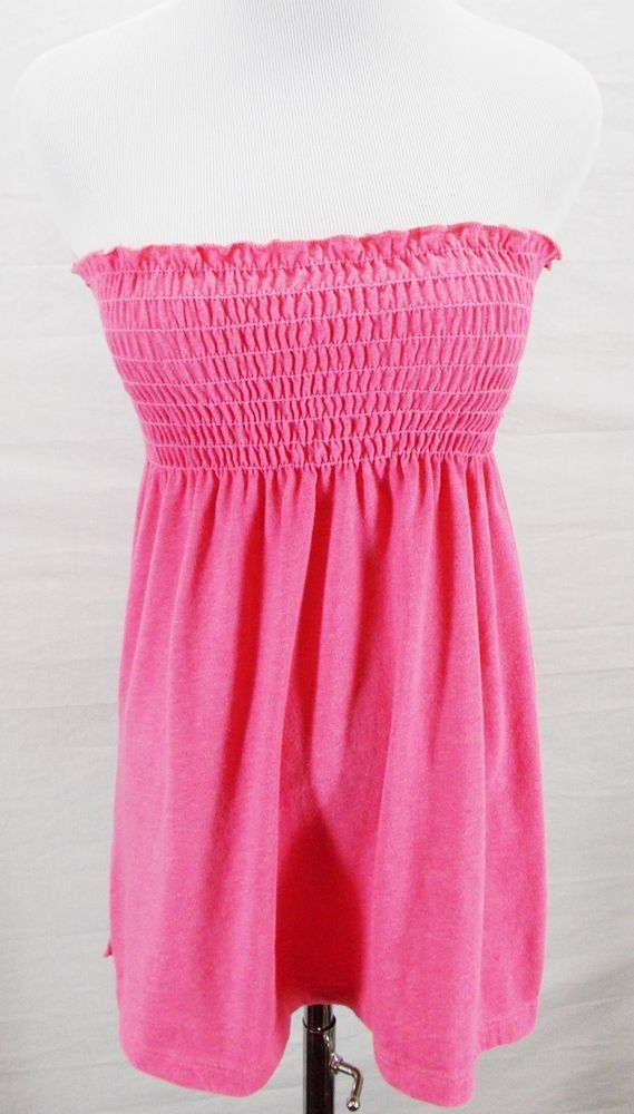 f2dcd414a6 Urban Outfitters CHASER LA Light Pink Smocked Beach Babydoll Tube Top Shirt  Sz S