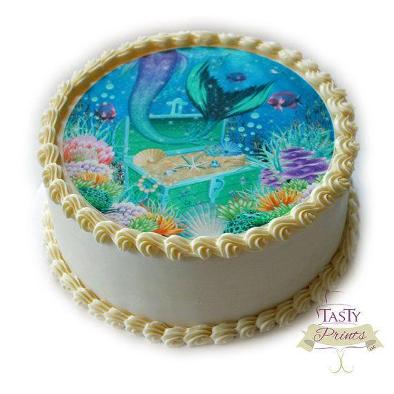 Edible Mermaid Cake Topper Edible Decoration By Tastyprints
