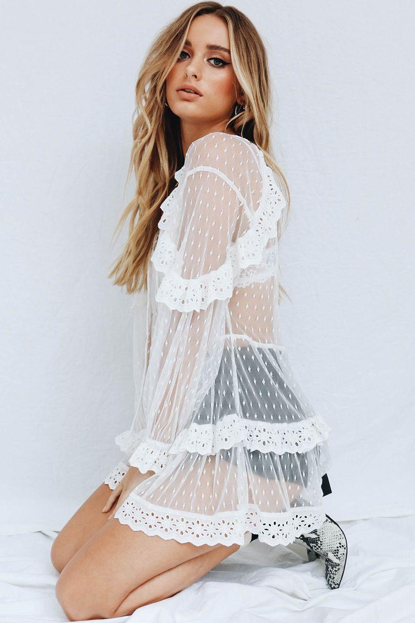 ce5faf4bae3d Shades Of Romance Mesh Mini Dress    White - Verge Girl