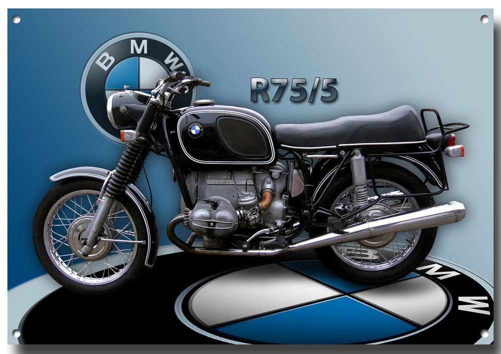 Bmw R75 5 Motorcycle Metal Sign 1970 S Classic Bmw Motorcycle Retro Motos Bmw Motos Clasicas Bmw